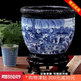 Jingdezhen ceramic VAT landing place extra large fortune sitting room feng shui blue aquarium town house hotel company