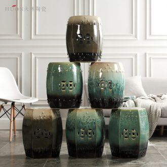 American new Chinese style coloured drawing or pattern porcelain ceramic drum stool sitting room yard pier cold pier in shoes dressing stool decorative furnishing articles