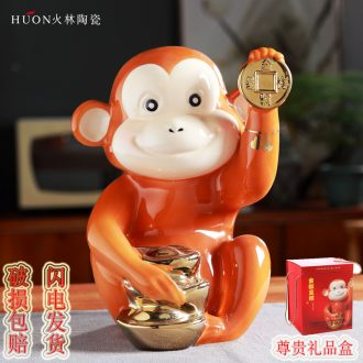 Ceramic creative gift porcelain zodiac monkey monkey feng shui plutus porch ark adornment office furnishing articles