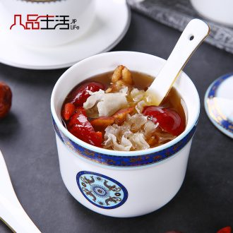 Stew water pure white ceramic with cover soup cup tank steamed soup cup size bowl of stew pot home bird's nest
