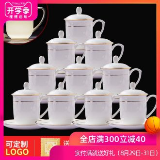 Jingdezhen ceramic tea set bone porcelain cup with cover hotel glass paint working meeting of domestic cup 10 only suits