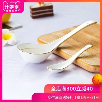 Is rhyme ceramic spoon small spoon stir long-handled spoon scoop bone China big spoon scoop the colour size