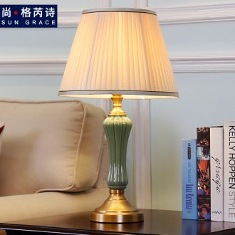 American whole copper ceramic desk lamp lights luxurious sitting room show originality of bedroom the head of a bed decoration European romantic warmth