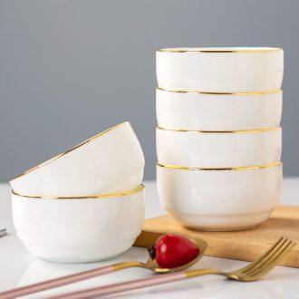 Jingdezhen ceramic round bowl household noodles in soup bowl 4 only 6 suit creative phnom penh ceramic tableware Korean your job