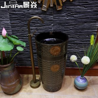 JingYan retro totem art pillar basin ceramic basin of pillar type lavatory basin vertical lavabo one-piece column