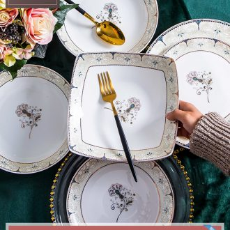 Jingdezhen ceramic tableware suit dishes dishes home American large-sized ceramic bowl creative Chinese style of eating food dishes