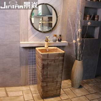 JingYan hand carved brick grain body art basin floor ceramic sinks conjoined lavabo vertical columns