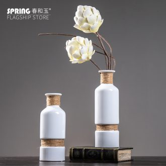 Contemporary household contracted sitting room white ceramic vase mesa place creative desktop table decorations vases, flower arrangement