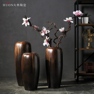 Jingdezhen ceramic vase of large sitting room porch villa Chinese zen dry flower flower POTS to restore ancient ways furnishing articles