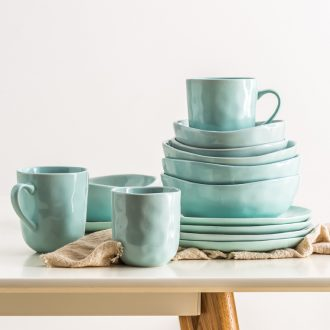 Ijarl ceramic tableware suit creative household steak disc dumplings plate flat dish plate of noodles soup bowl mugs
