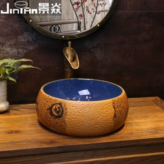 JingYan yellow time art restoring ancient ways round the stage basin archaize ceramic lavatory toilet lavabo on stage