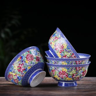10 5 in jingdezhen porcelain household to eat bone ceramic bowl of rice bowls Chinese antique dishes dishes suit