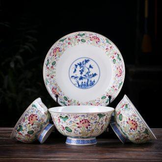 Jingdezhen ceramic single rice bowls of porridge bowl of domestic large bowl of archaize colored enamel craft bone porcelain tableware noodles in soup bowl