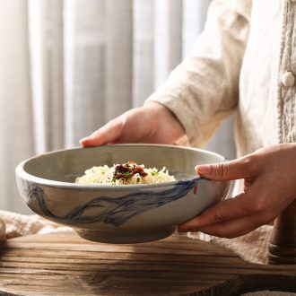 Japanese soup can use commercial pull rainbow noodle bowl retro creative ceramic eat bowl personality tableware large soup plate by hand