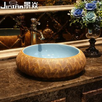 JingYan stone grain art stage basin archaize ceramic lavatory sink American basin restoring ancient ways round the stage