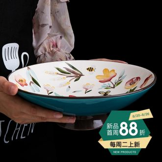 Compote ideas under the European ceramic glaze color large fruit bowl sitting room tea table accessories high snack dried fruit plate
