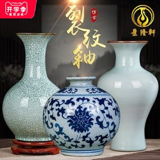 Archaize of jingdezhen ceramics kiln on crack green glaze vase home sitting room adornment furnishing articles of handicraft