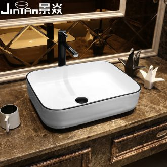 JingYan white black edge Nordic art stage basin rectangle ceramic lavatory contemporary and contracted on the sink