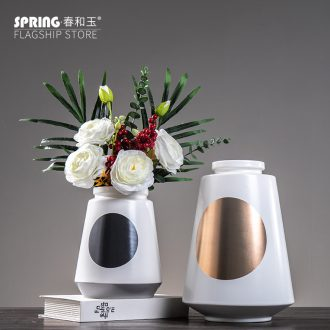 Nordic household act the role ofing is tasted, contemporary and contracted desktop furnishing articles creative ceramic vase sitting room adornment fashion flower arrangement