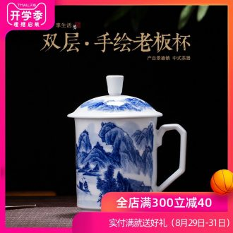 Is rhyme of jingdezhen ceramic cups office boss make tea cup under the hand-painted porcelain glaze color double male new cup