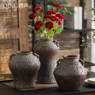 Vase furnishing articles sitting room dining-room table flower arranging dried flower ceramic Chinese style restoring ancient ways POTS creative home decorative porcelain