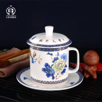 DH blue and white porcelain mug with cover ceramic cups office of jingdezhen porcelain tea cup with cups and saucers teacup