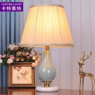 American small desk lamp bedroom nightstand contemporary and contracted ceramic creative warm and romantic wedding room decoration of remote control