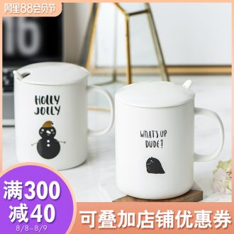 Ijarl million jia creative contracted with cover with ceramic spoon mug cup coffee cups of milk tea cups