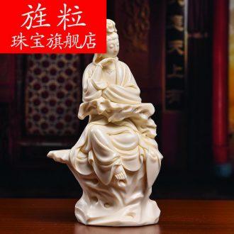 Bm provincial master Lin Jiansheng works yellow jade porcelain ceramic Buddha furnishing articles life guanyin D03-135