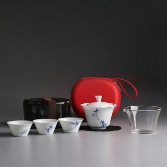 Jingdezhen porcelain white porcelain crack cup travel tea set suit portable a pot of two cups of tea pot
