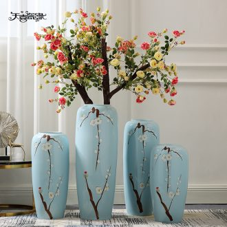 Jingdezhen ceramic Chinese landing big simulation flower vase large sitting room sets flower arranging hotel decoration furnishing articles