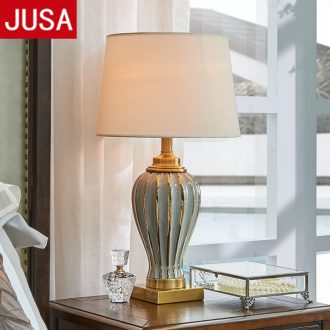 American bedroom adornment lamps manually all copper bed household large ceramic Europe type restoring ancient ways the study living room desk lamp
