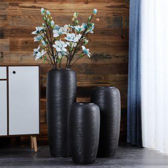 Jingdezhen ceramic floor large vases black furnishing articles TV ark porch decoration dry flower porcelain vase