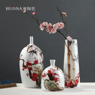 Jingdezhen ceramics vase painting hong mei bamboo original modern contracted decorate the sitting room of Chinese style household furnishing articles