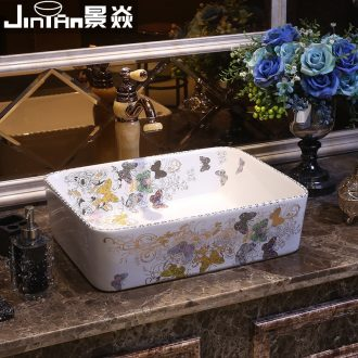 JingYan European art stage basin rectangle ceramic lavatory basin bathroom basin on the sink