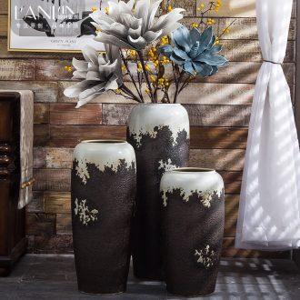 Retro ceramic landing big sitting room jingdezhen ceramic ornaments furnishing articles manual coarse pottery vase dried flower flower