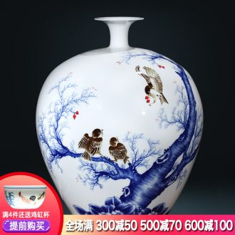 Famous master of jingdezhen ceramics hand-painted vases large-sized pomegranate bottle vibrant new Chinese style living room furnishing articles