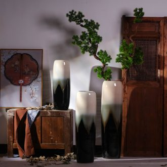 Jingdezhen ceramic vase landing large Chinese contemporary and contracted sitting room European ikebana simulation flower suit furnishing articles