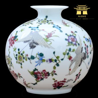 Jingdezhen ceramics colored enamel noctilucent floret bottle home office study rich ancient frame adornment furnishing articles