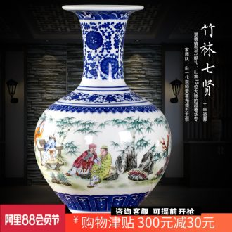 Jingdezhen ceramic seven sages of bamboo forest contracted and contemporary floret bottle mesa study office desktop sitting room adornment