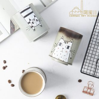 Jingdezhen glass mugs hand-drawn cartoon creative Japanese 'content and lovely ceramic cup milk coffee cup home