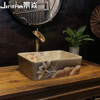 Art on the stage basin JingYan red lotus small square ceramic lavatory small size Chinese style on the sink