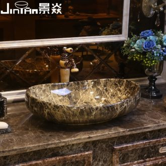 JingYan marble art stage basin ceramic sinks Europe type restoring ancient ways toilet lavabo on stage