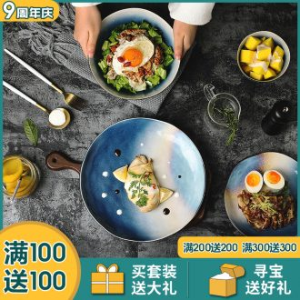 Ijarl million jia Nordic ins web celebrity dishes dishes and cutlery set new household ceramic bowl bowl Milky Way