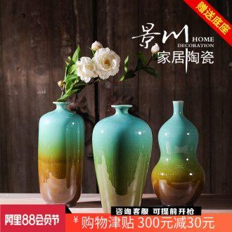 Jingdezhen ceramics kiln crack glaze vase three-piece home furnishing articles mesa of contemporary sitting room adornment