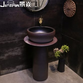 JingYan with pillar basin ceramic column type lavatory one pillar sink sink on floor