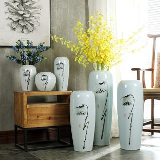 Contracted and contemporary ceramic creative Chinese lotus dried flowers large vase zen living room home decoration flower arranging furnishing articles