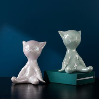 Cat finches creative tea pet home decoration ceramic tea set tea ceremony decorative furnishing articles
