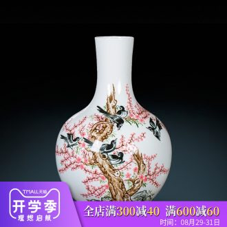 Master of jingdezhen ceramics beaming pastel hand-painted vases, flower arranging new Chinese style sitting room adornment is placed