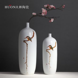 New Chinese vase furnishing articles contracted with cans of coloured drawing or pattern of creative living room TV wine porch flower arranging ceramic decoration
